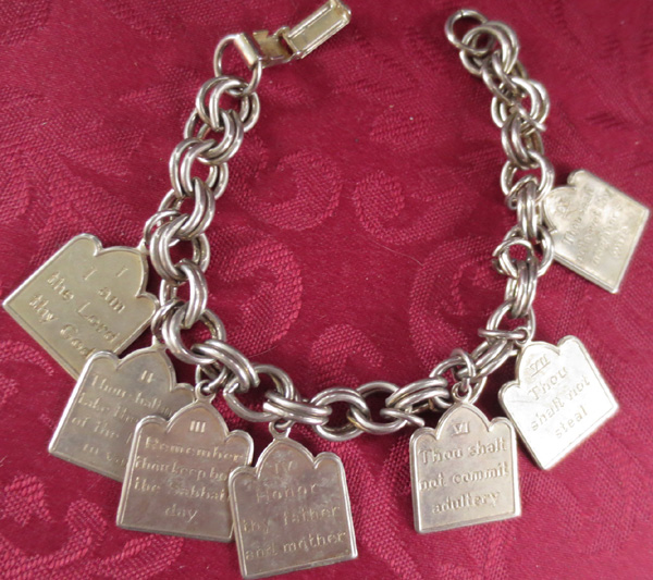 Vintage Silvertone Ten Commandments Charm Bracelet
