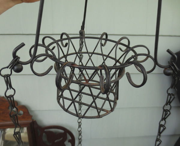 Vintage Wrought Iron 3 Tier Hanging Planter Plant Holder