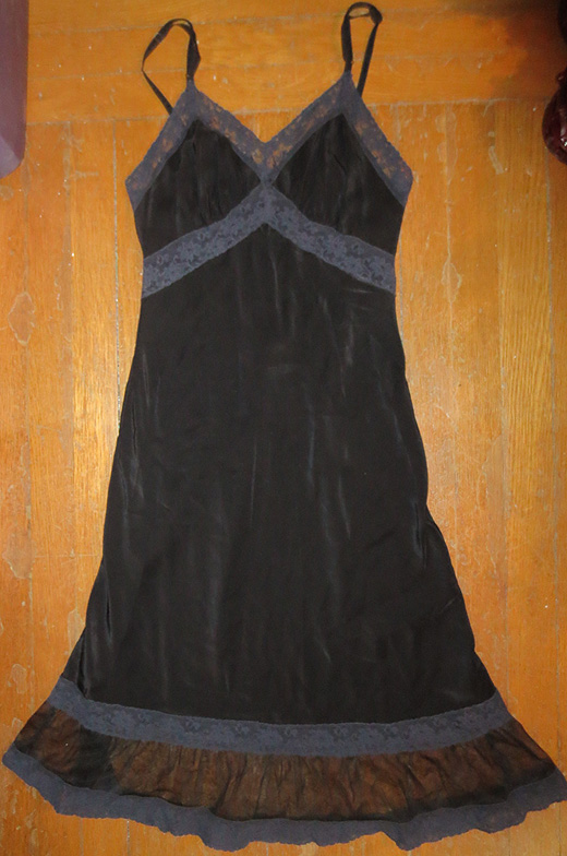 Vintage 1950s Ladies Black Full Slip XS Bust Waist
