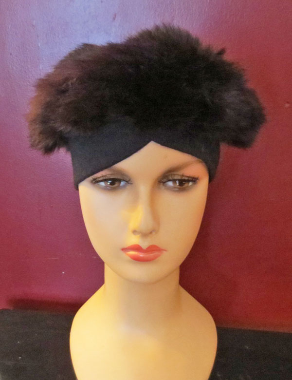 Vintage 1950s 1960s Brown Mink Rabbit Fox Fur Hat