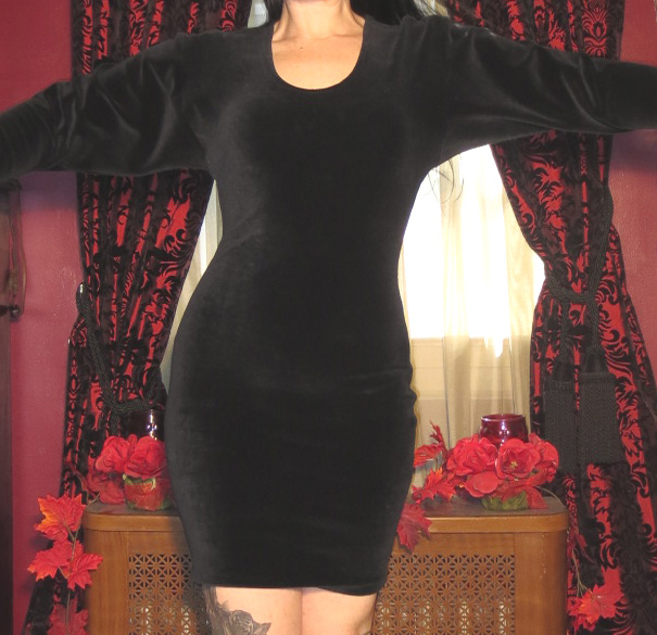 Vintage Witchy Black Velvet Body Con Dress Flared Sleeves