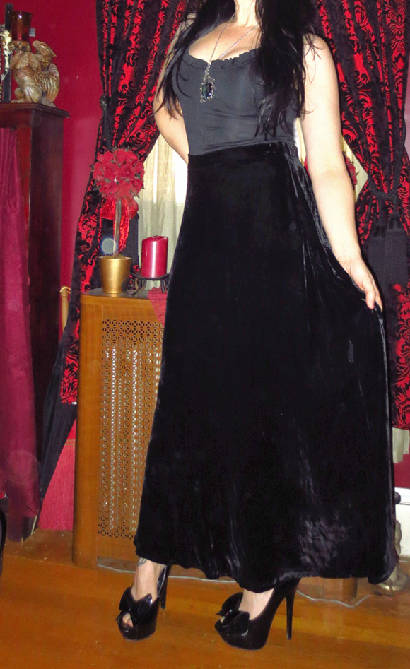 Steampunk Witchy Gothic Black Velvet Long Skirt Medium