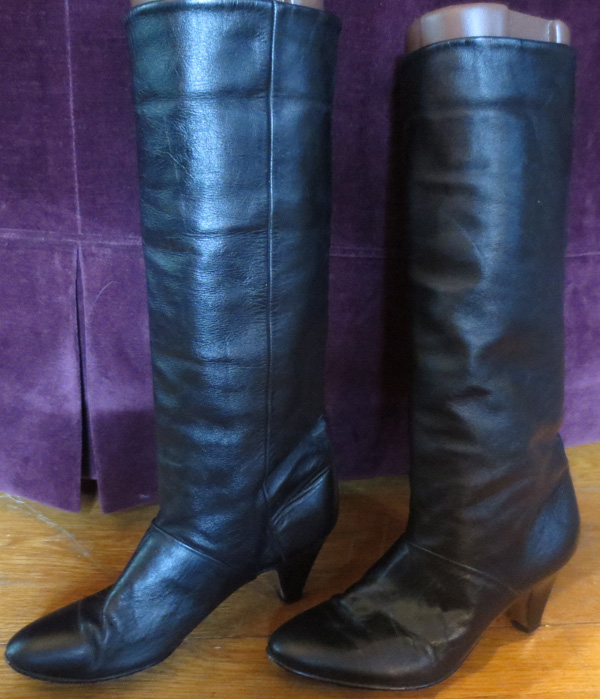 Vintage Knee High Black Leather High Heel Cuff Boots 7