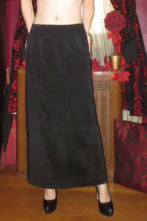 Black Genuine Soft Suede Leather Long Skirt 12P