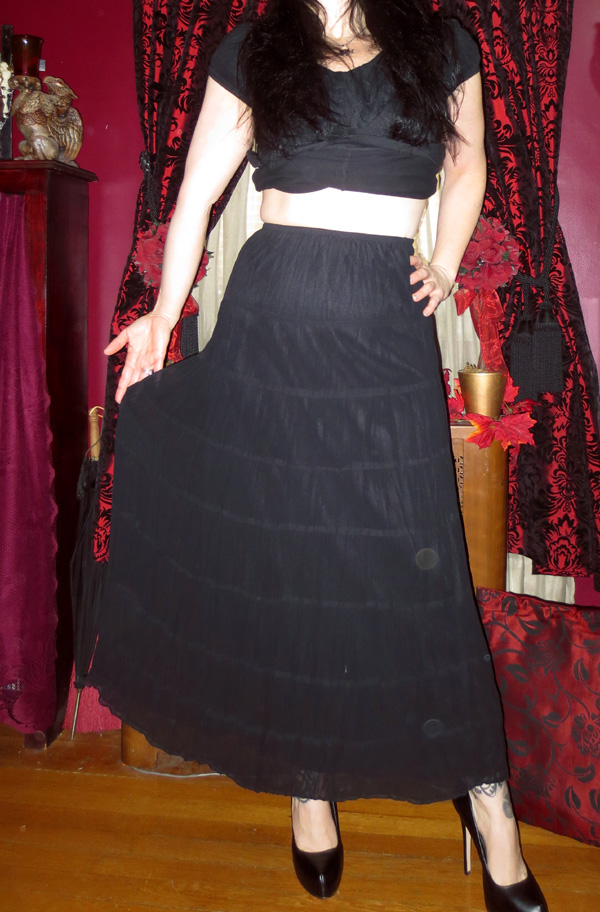 Witchy Gothic Long Black Skirt Petticoat Small