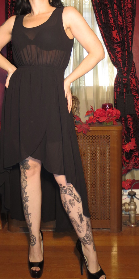 Vintage Witchy Gothic Black Long Sheer Dress Small