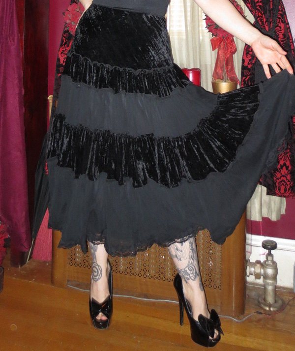 Witchy Gothic Long Black Velvet Lace Long Flowy Skirt S/M
