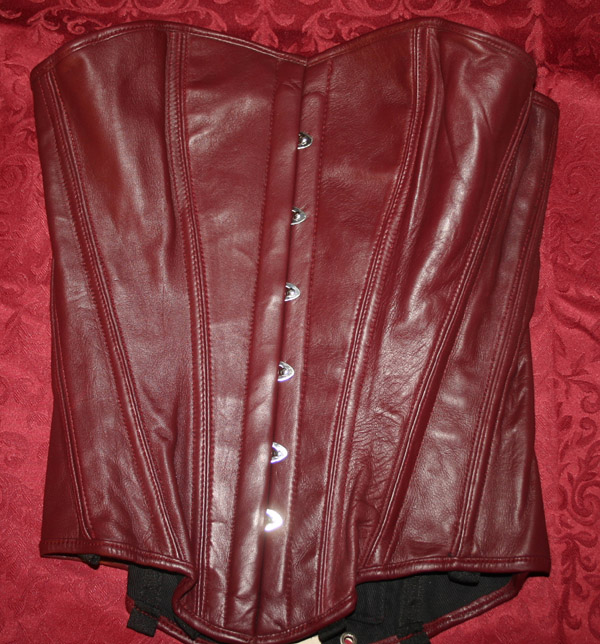 Gothic Renaissance Leather Burgundy Corset 24 Waist
