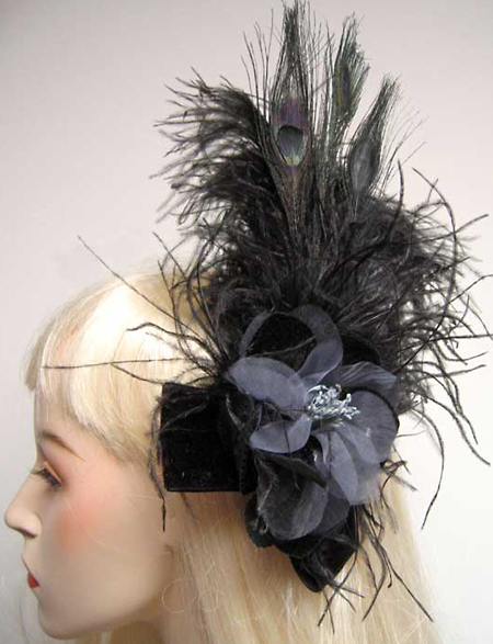 Black Feather Hair Clip Fascinator Gothic Burlesque