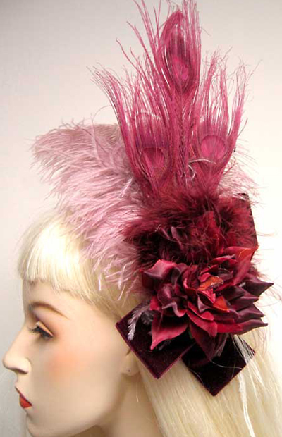 Burlesque Showgirl Burgundy Feather Hair Clip