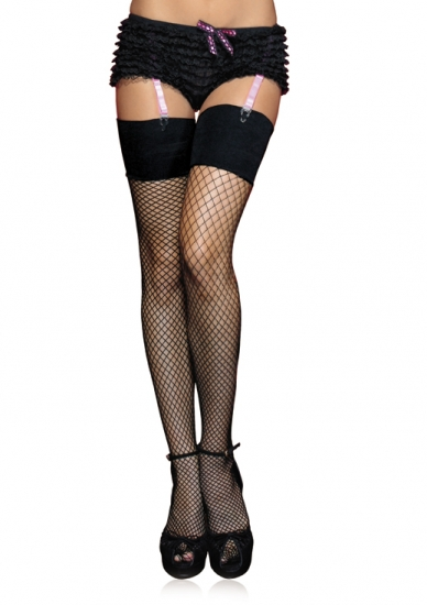 Black Fishnet Wide Banded Top Thigh High Stockings