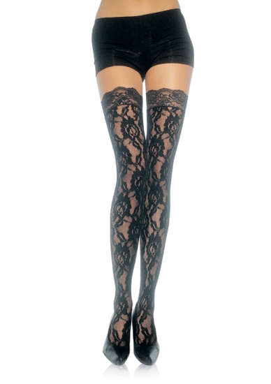 Black Gothic Lace Roses Thigh High Garter Stockings