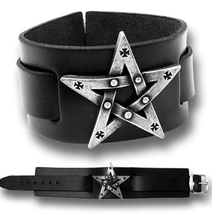 Alchemy Gothic Leather Cuff Bracelet Pentagram