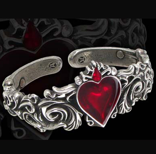 Alchemy Gothic Betrothal Red Heart Cuff Bracelet