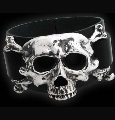 Alchemy Gothic Dieth Skull Leather Cuff Bracelet