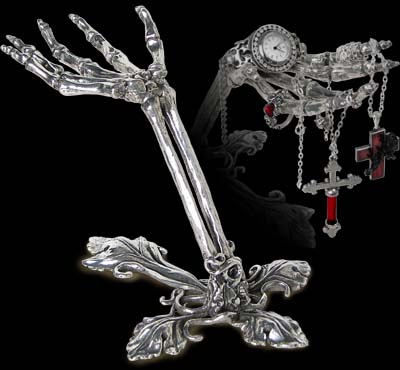Alchemy Gothic Litternere Skeleton Hand Jewelery Stand