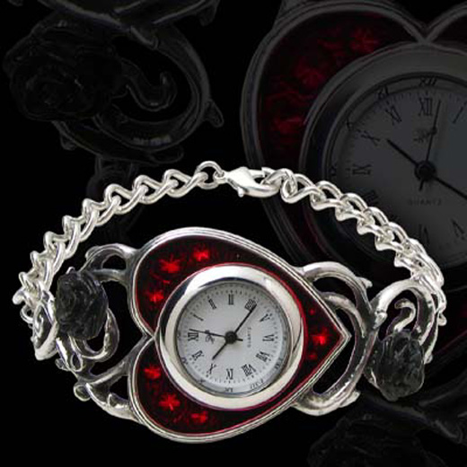Alchemy Gothic Bed of Blood Roses Heart Watch