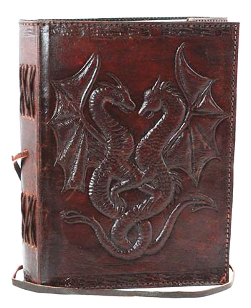 Double Dragon Leather Book of Shadows Spell Journal
