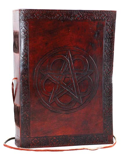 Large Pentagram Leather Book of Shadows Spell Journal