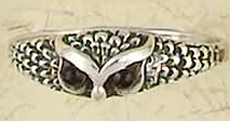 Sterling Silver Stone Eyes Owl Ring