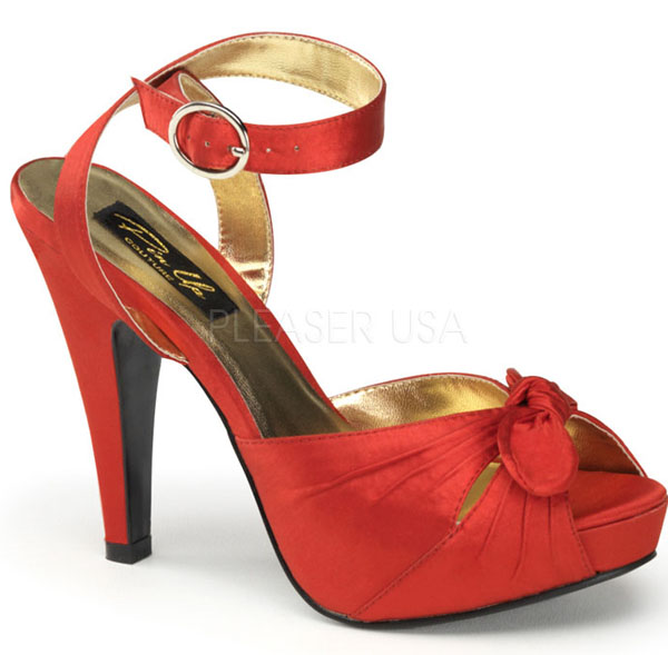 Red Satin Peep Toe Bow Platform Heels