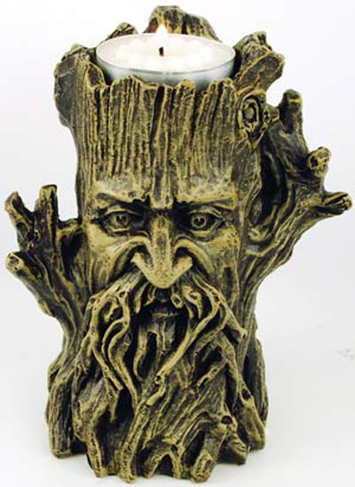 Gothic Spooky Greenman Tealite Candle Holder