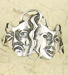 Sterling Silver Tragedy Theatre Drama Masks Ring