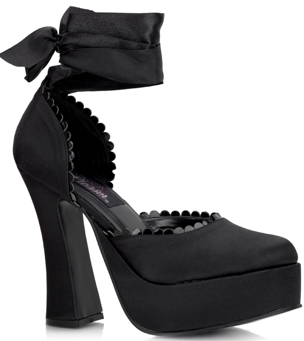 Black Ballerina Tie-Up Leg Black 5 Inch Heels
