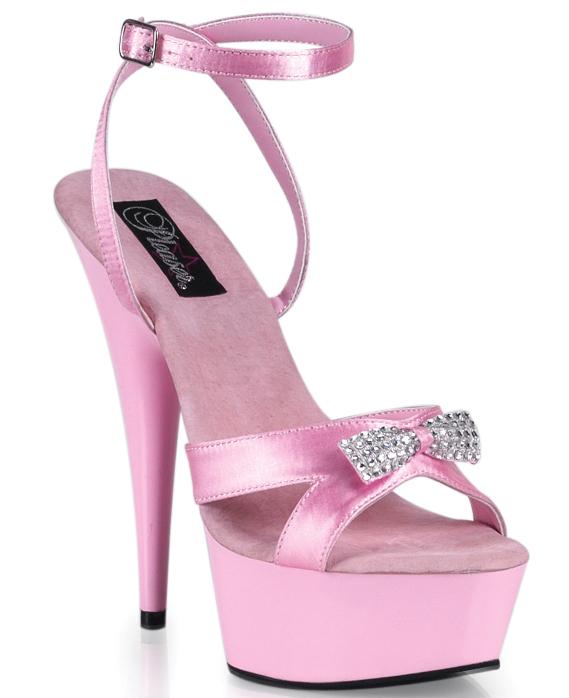 Pink Satin Rhinestone Bow Sexy 6 Inch Heels