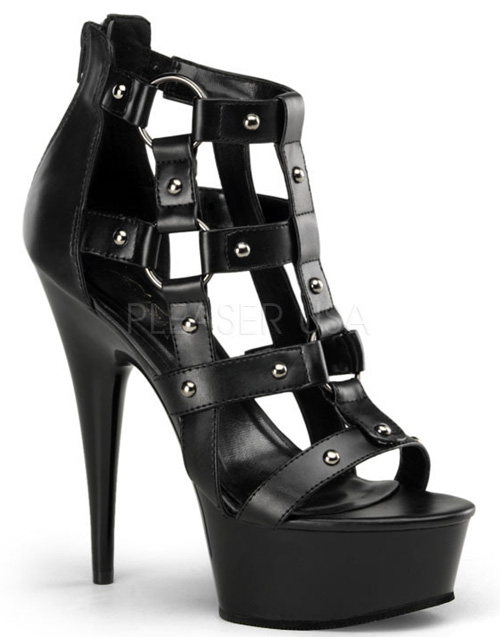 Platform 6 Inch Black Caged O Ring Fetish Heels