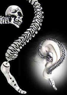 Alchemy Gothic Necacrosome Skull Vertabrae Earring Cuff