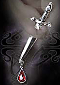 Alchemy Gothic Cesares Veto Dagger Blood Stud Earring
