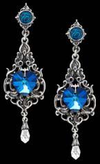 Alchemy Gothic Empress Eugenie Blue Heart Diam Earrings