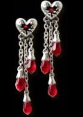 Alchemy Gothic Bleeding Heart Blood Drop Jewel Earrings