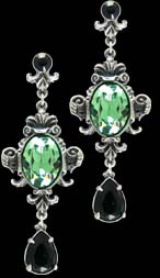 Alchemy Gothic Queen of The Night Green Jewel Earrings