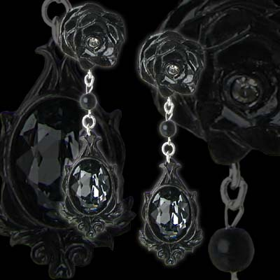 Alchemy Gothic Dark Desires Rose Jewel Earrings
