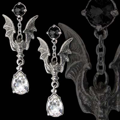 Alchemy Gothic La Nuit Bat Jewel Earrings
