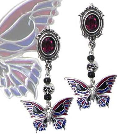 Alchemy Gothic Death's Head Butterfly Earrings