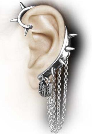 Alchemy Gothic Hornet's Nest Padlock Slave Earring