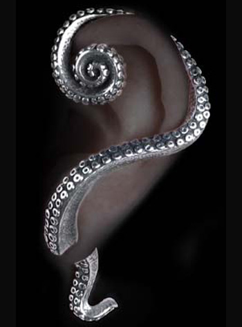Alchemy Gothic Kraken Tentacle Ear Wrap Earring