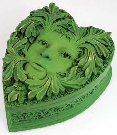 Heart Shaped Greenman Ivy Trinket Box