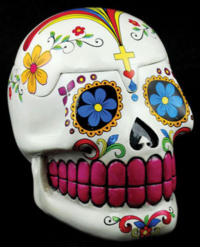 White Day of the Dead Mexican Skull Box
