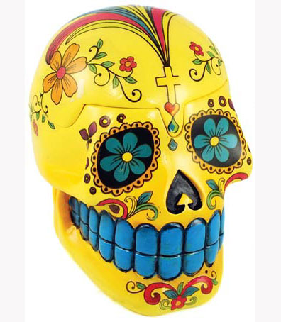 Yellow Day of the Dead Mexican Skull Box