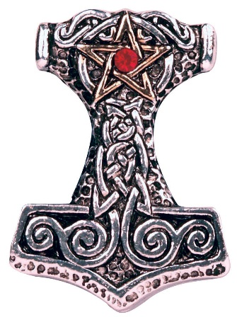 Celtic Jeweled Pentagram Thors Hammer Pendant