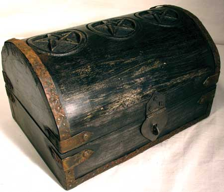Pentagram Carved Wood Round Top Locking Chest