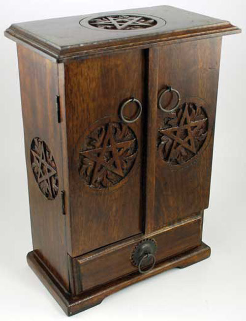 Wiccan Altar Tools Wood Pentagram Cupboard Chest