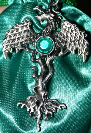 Wiccan Dragon Tree Shield From Danger Pendant