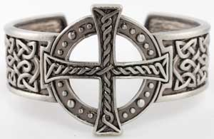 Medieval Large Celtic Cross Knotwork Cuff Bracelet