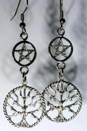 Tree of Life Pentagram Sterling Earrings