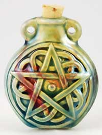 Celtic Pentagram Raku Oil Bottle Pendant